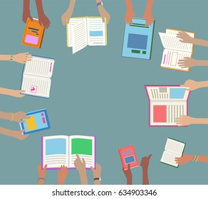 Children Hands Holding and Reading Library Books on Desk, abstract concept, ideal for flyers