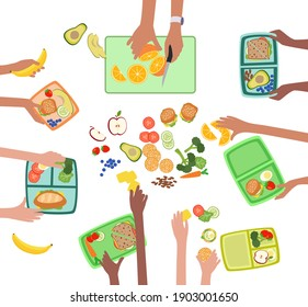Children hands making fresh healthy lunch or picnic for kids school lunchbox grouped and layered vector easy to edit
