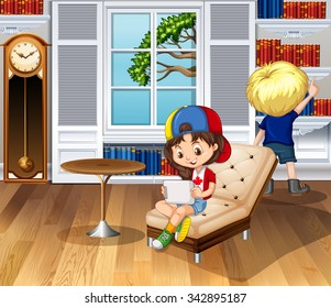Children hanging out in the living room illustration