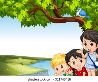 Children hanging out at the river illustration