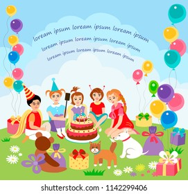 Children happy birhday party