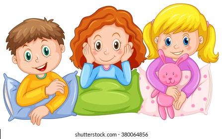 Children happy at slumber party illustration