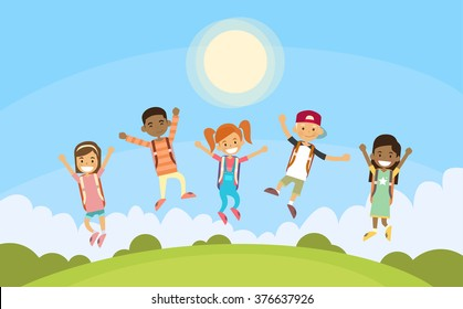 Children Happy Smile. Group Jump. Park Outdoor Flat Vector Illustration