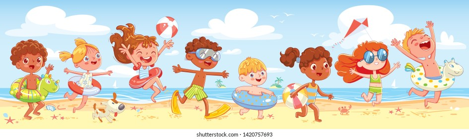 Children have fun running on the beach. Kid with inflatable rubber circle run to sea. Summer time. Seamless panorama of summer sea beach. Funny cartoon character. Vector illustration