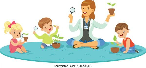 Children Having Botany Lesson. Teacher Demonstrating Plant Vector Illustration