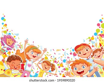 Children are having fun at the holiday. Ready template for your design. Colorful cartoon characters. Funny vector illustration. Isolated on white background