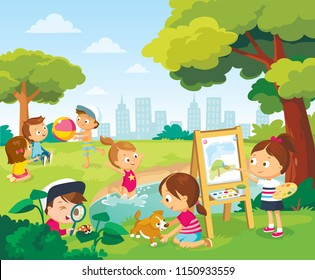 Children having fun. Little girl is plaing with puppy. Little girls and boys are playing with ball.  Little girl are swiming in lake, pond.  Girl drawing the watercolor.Vector illustration.Flat design