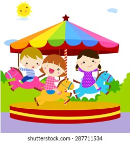 Children having fun at the Merry go round Amusement Park Game cartoon vector illustration