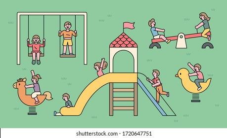 Children are having fun playing on playground equipment. flat design style minimal vector illustration.