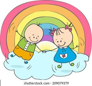Children having fun under the rainbow. Vector illustration.