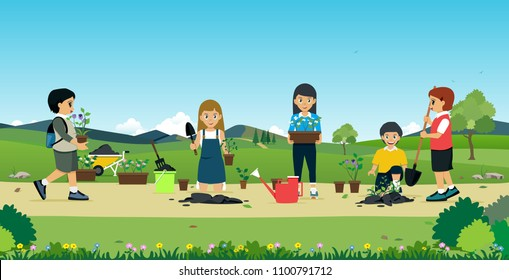 Children help to plant a tree with a backdrop.