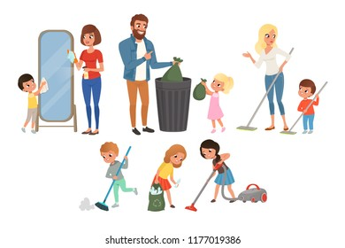 Children helping their parents with housework. Sweeping, vacuuming, washing floor, throwing out garbage, cleaning mirror. Cartoon kids characters. Flat vector design