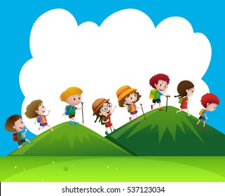 Children hiking up the hills illustration