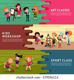 Children hobbies education horizontal banners with different kids interests and school classes vector illustration