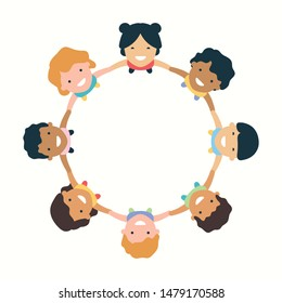 Children hold hands link circle - Vector