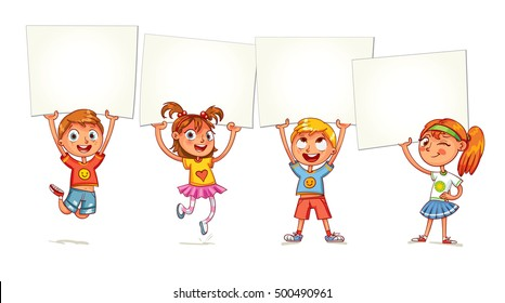 Children holding empty blank board. Kids are raised up posters. Holiday, celebration, festivity. Ready for your message. Space for text. Funny cartoon character. Isolated on white background