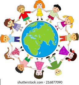 Children holding for hands around planet