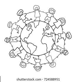 children holding for hands around planet vector