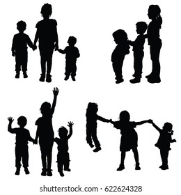 children holding hands black vector silhouette on white