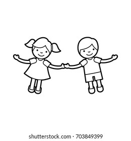 Children holding hands characters