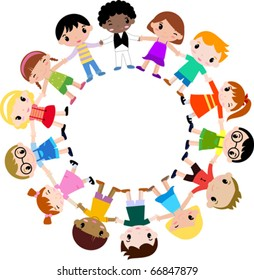 children holding hands in a circle