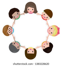 Children holding hands in a circle isolated on white background, Vector illustration in flat style.