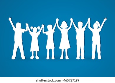 Children holding hands graphic vector.