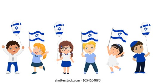 children holding Israeli flags. Modern design template for greeting card, ad, promotion, poster, flyer, blog, article, social media Vector illustration