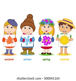 children holding a sheet of paper with icons of seasons - vector illustration, eps