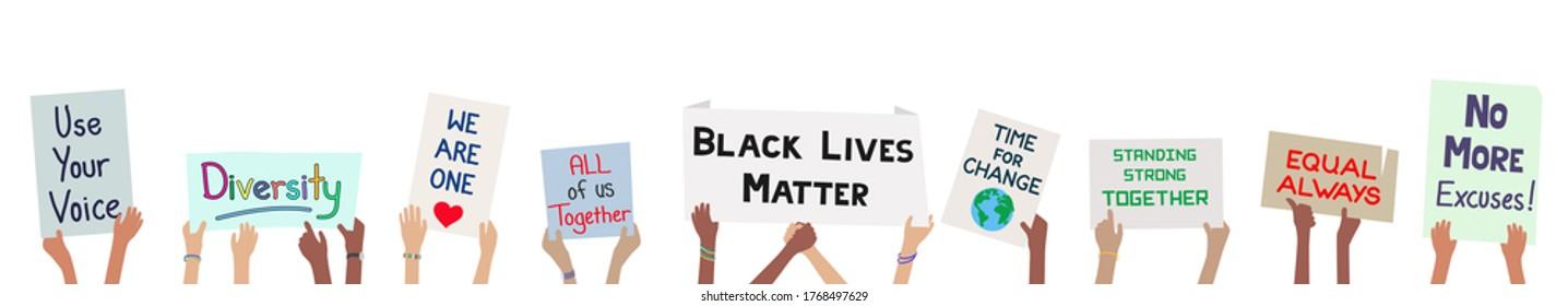 Children holding signs banner to demonstrate for justice black lives matter movement concept