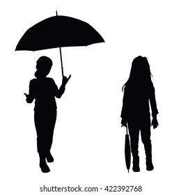 children holding umbrella illustration silhouette