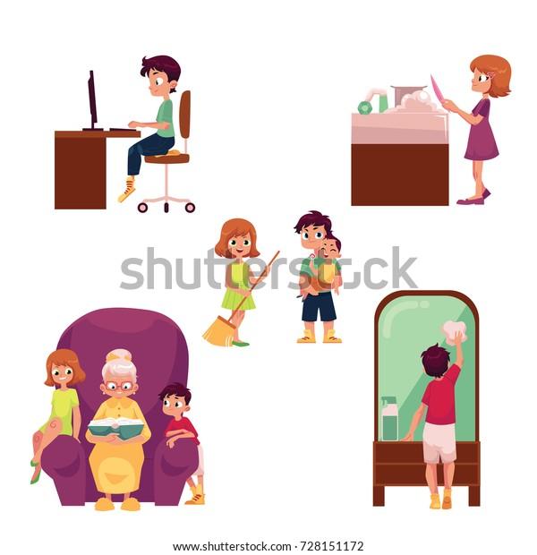 Children Home Set Using Computer Doing Stock Vector (Royalty