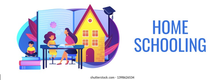Children at home with tutor or parent getting education, tiny people. Home schooling, home education plan, homeschooling online tutor concept. Header or footer banner template with copy space.