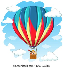 Children in hot air balloon illustration