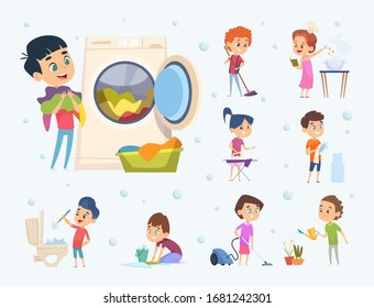 Children housework. Little kids boys and girls helping sweeping showering floor wash furniture and toys vector cartoons