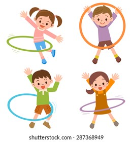 Children to the hula hoop