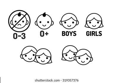 Children icon set: age warning labels (not suitable for young kids) and gender signs. Line icons, simple modern style.