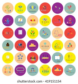 Children Icons Set - Isolated On Circle Background. Vector Illustration, Graphic Design. For Web, Websites, App
