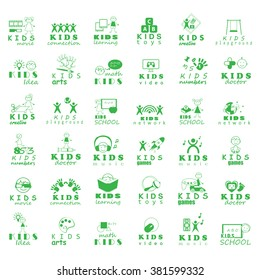 Children Icons Set - Vector Illustration, Graphic Design. Collection Of Color Icons, For Web, Websites, Print, Presentation Templates, Mobile Applications And Promotional Materials