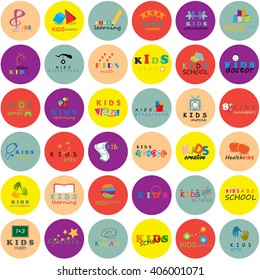 Children Icons Set-Isolated On Circle Background.Vector Illustration,Graphic Design.Logo Templates.Kids Note,Book,Logo Bulb