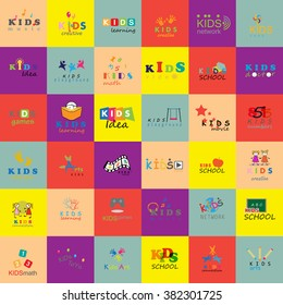 Children Icons Set-Isolated On Mosaic Background.Vector Illustration,Graphic Design.For Web,Websites,Print,Presentation Templates,Mobile Applications,Promotional Materials.Kids Note,Handprints,Book