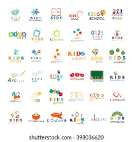 Children Icons Set-Isolated On White Background.Vector Illustration,Graphic Design.For Web,Websites,App,Print,Presentation Templates,Mobile Applications,Promotional Materials.Kids Note,Book,Logo Bulb