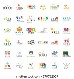 Children Icons Set-Vector Illustration,Graphic Design.For Web,Websites,App,Print,Presentation Templates,Mobile Applications,Promotional Materials.Kids Note,Balloon,Handprints,Book,Vision,Bulb,Collage