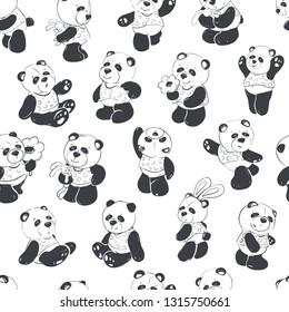 Children illustration. Seamless pattern of a cute and fun panda. Vector illustration.