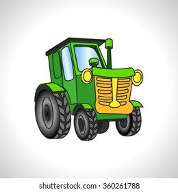 children illustration technique green tractor