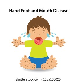 children infected Hand Foot and Mouth Disease (HFMD) Cartoon vector illustration