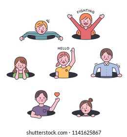Children joking in the bottom hole. outline style flat design style vector graphic illustration set