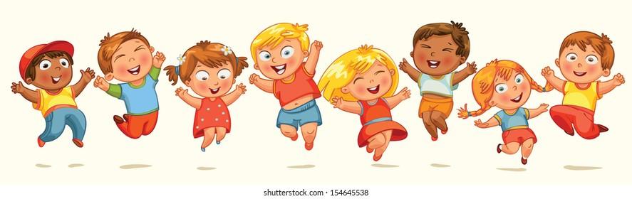 Children jump for joy. Banner. Vector illustration. Isolated on white background