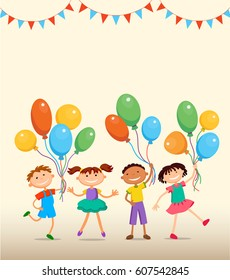 children are jumping with balloons birtday party background bunner cartoon funny Ready for your message vector character illustration