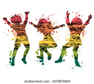 Children jumping. Colorful grunge silhouettes with splashes in watercolor style. Vector illustration
